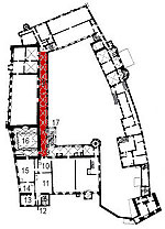 Small plan of the castle (first floor) showing the present position