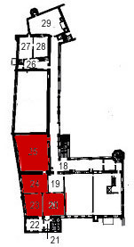 Small plan of the castle (ground floor) showing the present position