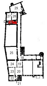 Small plan of the castle (second floor) showing the present position